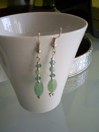 boucles d'oreilles en jade et perles en cristal de boheme vertes