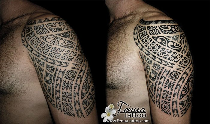 tatouage polynesien bras epaule