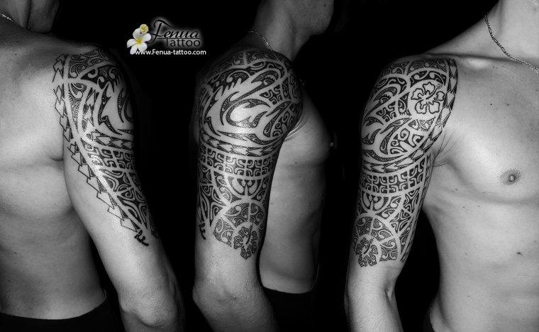 photo de tatouage polynésien tribal par fenua tattoo