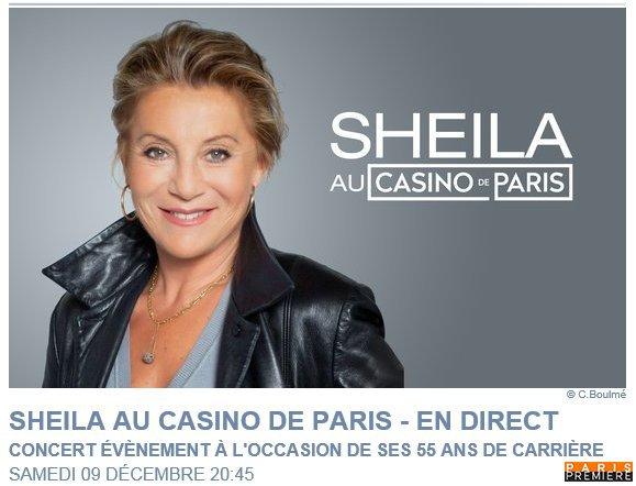 Sheila retransmission concert du 9 décembre 2017 sur Paris Première