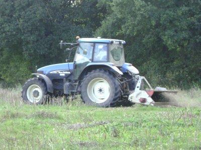 tracteur new holland avec un broyeur dans la colza