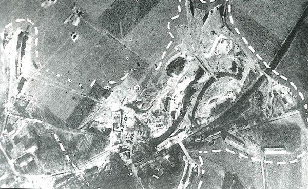 Délimitation alliées de la carrière souterraine de Nucourt et des traveaux d'aménagement Allemands 1944 avant les bombardements