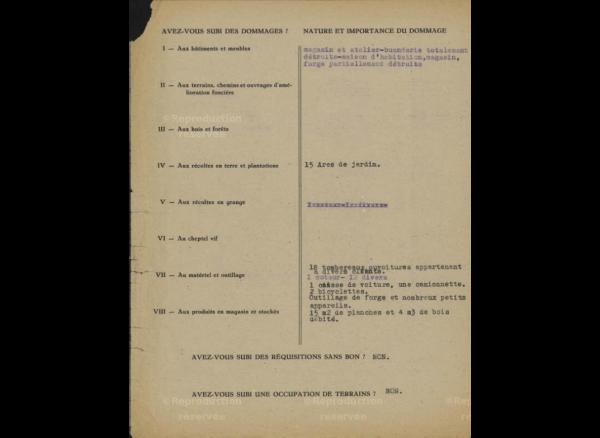 Nucourt apres les bombardements alliées de 1944