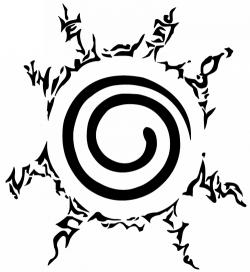 Sceau de scellement de Kyubi sur le ventre de Naruto.