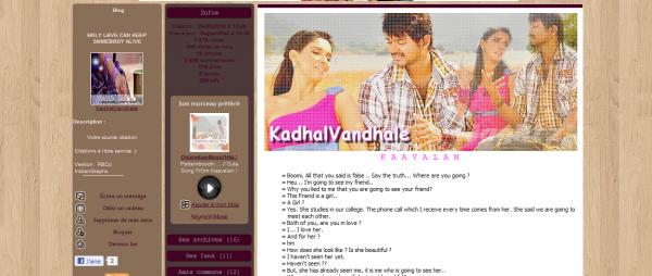 Présentation de KadhalVandhale - Géré par Jessie - Existe depuis le 26/09/10 - 31 Articles - Blog sur Kollywood