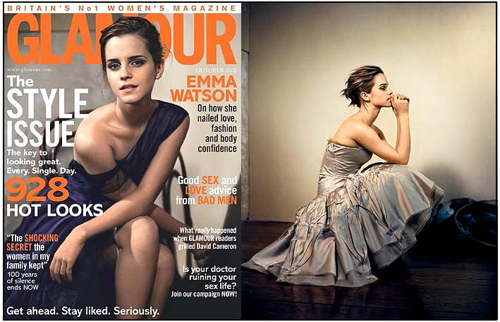 Emma en couverture de Glamour (uk) - Octobre 2012 : Photos : Vincent Peter.