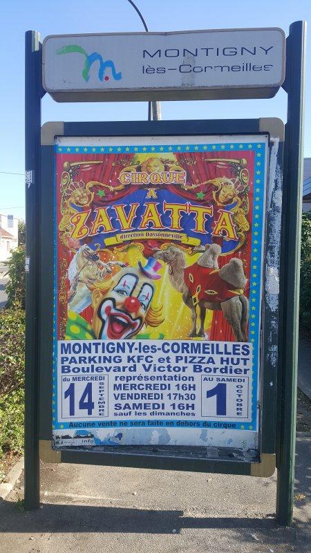 Le cirque Achille Zavatta à Montigny-les-Cormeilles (95) du vendredi 16 Septembre au samedi 1er Octobre 2016 (Affichage)