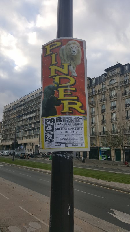 Le cirque Pinder à Paris 12ème (75) du 4 novembre au 22 janvier 2016 (Affichage)