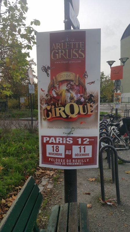 Le cirque Arlette Gruss à Paris 12ème (75) du 18 novembre au 11 décembre 2016 (Affichage)