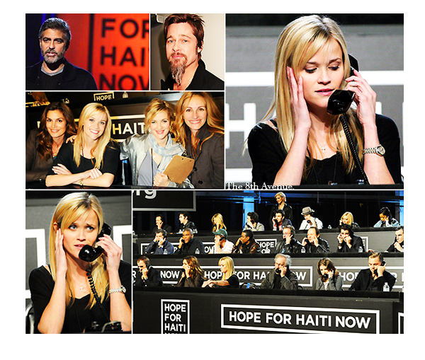 HOPE FOR HAITI NOW Brad, Reese et les autres... Hollywood's Telethon - le 22 janvier 2010 George et les autres ont permis de récolter 58 millions de $ pour Haïti lors de cette soirée.