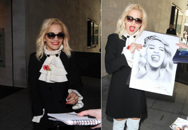 4/11/13 :Rita Ora quittant les studios de la Radio BBC 1