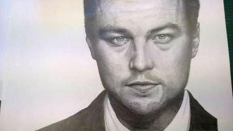 Portrait au crayon à papier Léonardo Dicaprio