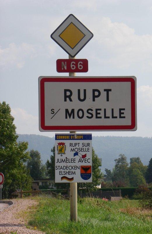 Panneau d'agglomération de RUPT sur moselle