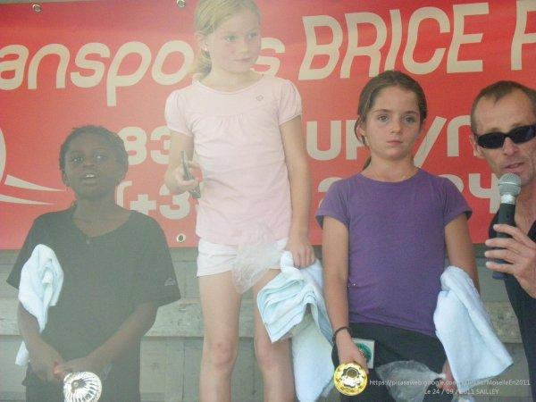 Sur le podium des 3 premières gagnantes chez les filles
