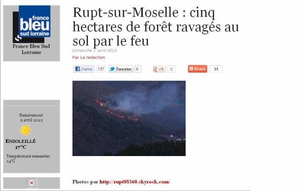 RUPT SUR MOSELLE AUX INFOS SUR FRANCE BLEU SUD LORRAINE ... INCENDIE DE FORET