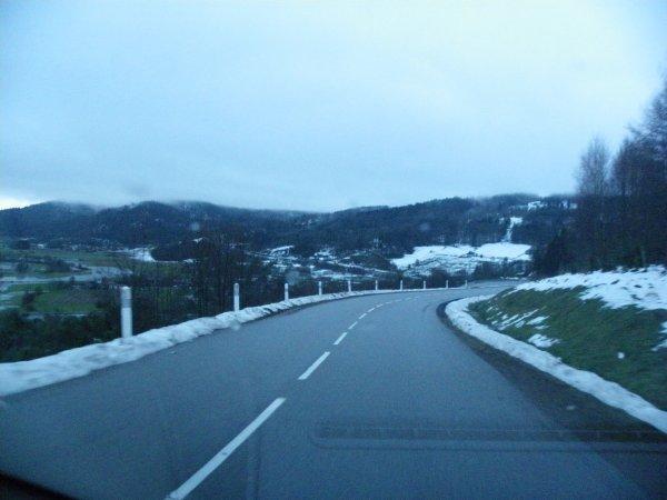 route du mont de fourche en hiver