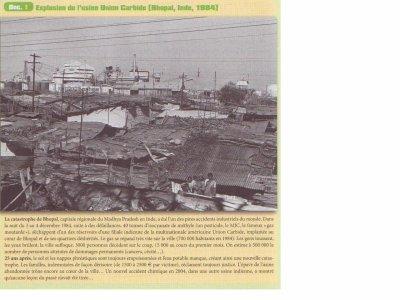 Explosion d'une usine en Inde, Manuel d'Histoire-Géographie-Education Civique 2nde Bac Pro CASTEILLA