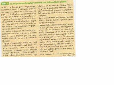 Programme alimentaire Nations Unies, Manuel d'Histoire-Géographie-Education Civique 2nde Bac Pro CASTEILLA