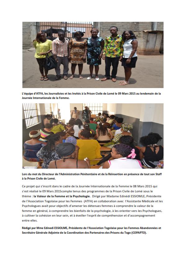La Journée Internationale de la Femme célébrée à la Prison Civile de Lomé.