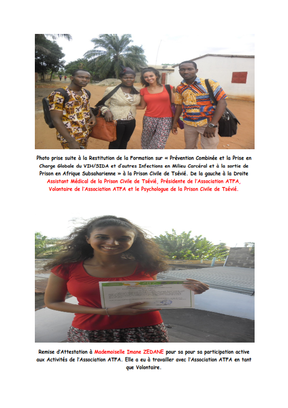 Restitution de la la Prévention combinée et la Prise en Charge Globale du VIH/SIDA et d'autres Infections en Milieu Carcéral et à la Sortie de Prison en Afrique Subsaharienne.