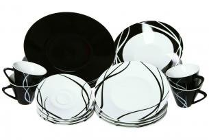 Service 20 pieces noir et blanc decodesign07 for Service de table noir et blanc