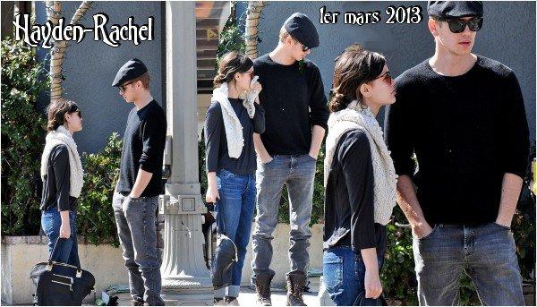 Hayden et Rachel au Square One à Los Feliz le 29 janvier 2013 et au Dusty's Bistro à Los Angeles le 1er mars 2013.