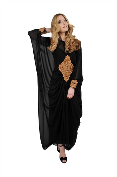 Black Long Sleeved Maxi Kaftan Dress