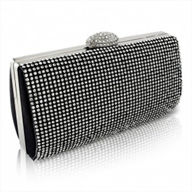 Dazzling Jet Black Crystal Clutch Bag