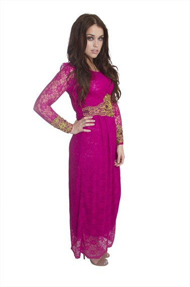 Fuchsia Pink long sleeved Lace Dress