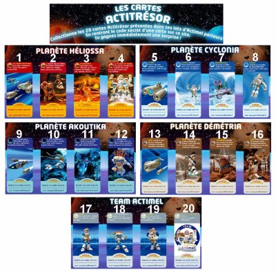 """ACTIMEL """" 20 les cartes actitrésor à collectionner """""""