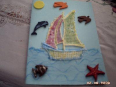 voici ce que j ai fais pour l echange  avec mes creas 815 une jolie carte qui r appelle les vacances    deux papilons au crochet un rond de serviettes des petites babioles et des serviettes