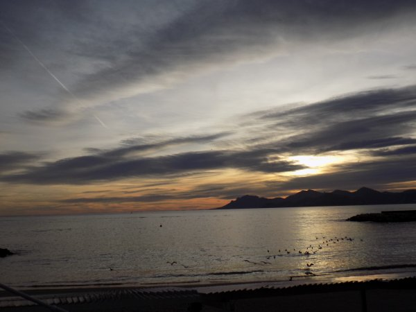 coucher de soleil sur Cannes