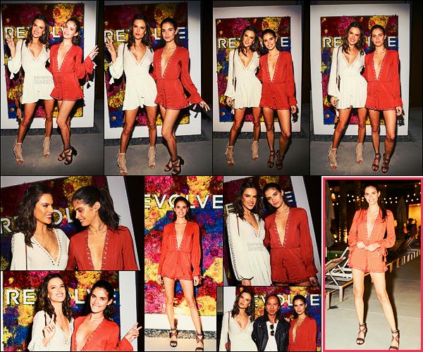 """13/04/17 - Sara Sampaio  était à l'événement Revolve x Ale par Alessandra Ambrosio dans  Palm Spring.  La belle était accompagnée d'Alessandra Ambrosio sur le """"red carpet"""". J'aime bien sa combi ainsi que la couleur, ça lui va bien, un beau top"""
