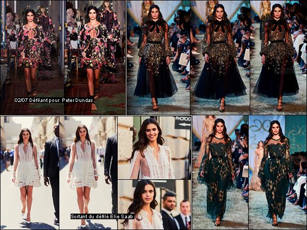 05/07/17 - Sara Sampaio  a été photographiée défilant pour la nouvelle collection d'Elie Saab dans Paris, FR J'aime bien la robe verte de défilé mais surtout sa tenue en sortant du défilé... Elle était vraiment parfaite, j'adore, qu'en pensez-vous?