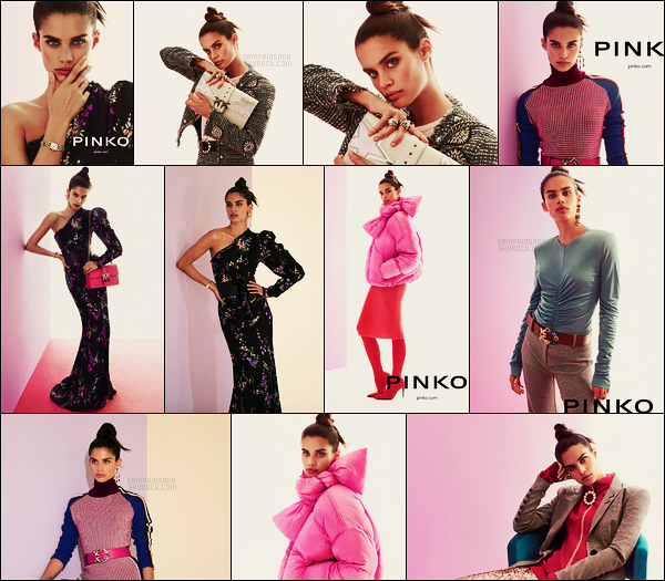 »   Des clichers de Sara Sampaio pour la campagne automne/hiver de la marque  Pinko !