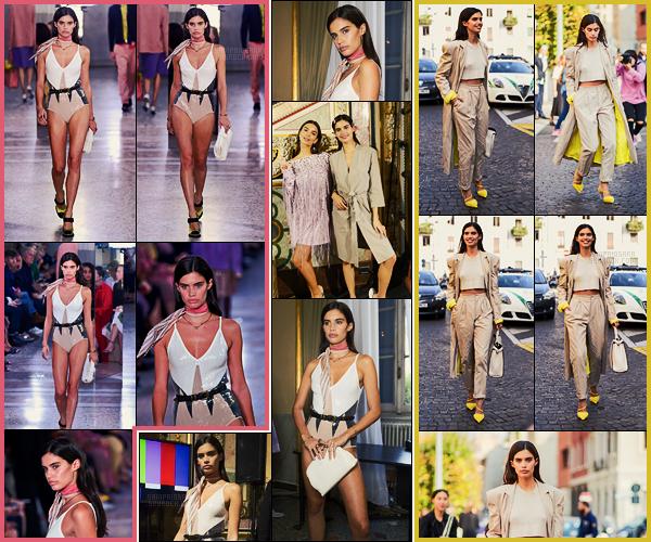 23/09/17 - Sara Sampaio a été défilé pour la maison Bottega Veneta  pendant la Fashion Week de Milan. Tenue de défilé par trop mal, elle ne ressemble pas à un sac, par contre je n'aime pas le tenue en sortant de celui-ci sauf les escarpins.
