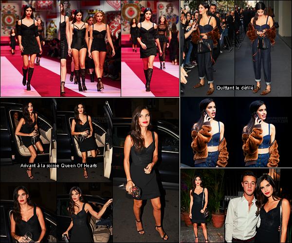 24/09/17 - Sara Sampaio a été défilé pour la maison  Dolce & Gabbana pendant la Fashion Week de Milan. Dans la soirée, Sara était à la soirée par Dolce & Gabbana: Queen Of Hearts. Suite à ça, Sara s'est envolée pour Paris où continue la FW