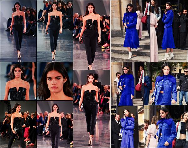 30/09/17 - Par cette belle journée, Sara Sampaio a défilé pour  Mugler, lors de la Fashion Week de Paris. Sara n'a porté qu'une seule tenue, plus tard elle a été vue quittant le défilé pour se rendre à celui d'Elie Saab, toujours situé dans Paris!