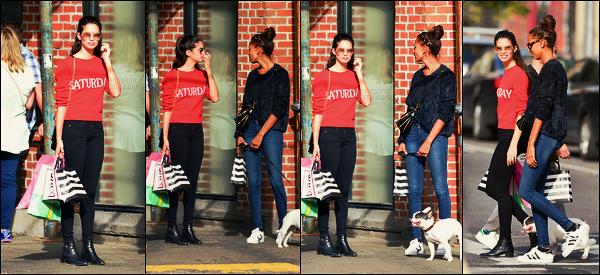 22/10/17 - Sara Sampaio a été vue accompagnée de Jasmine Tookes pour une séance shopping à N-Y-C. Quoi de mieux que les rues de New-York pour une sortie shopping ? Pas particulièrement fan de cette tenue qui est classique, petit top !