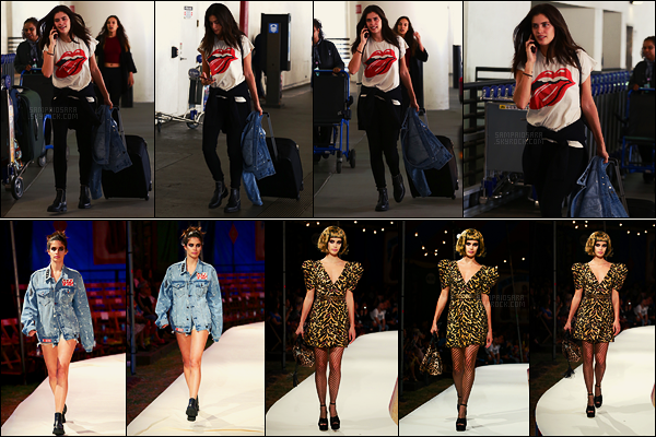 07/06/18 - Notre jolie brunette Sara Sampaio a été aperçue arrivant à l'aéroport  LAX  de Los Angeles, - CA Le lendemain, Sara participait au défilé Moschino pour sa nouvelle collection. Les tenues sont tops mais la seconde coiffure je n'aime pas