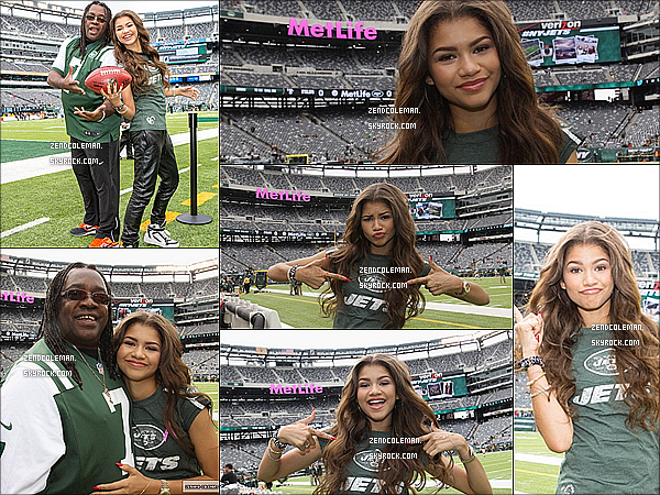 . 14/10/2013 : Zendaya s'est rendu chez Planet Hollywood à New-York.  Puis le 13 octobre,zendaya était au match des The Pittsburgh Steelers vs. New York Jets Game. .