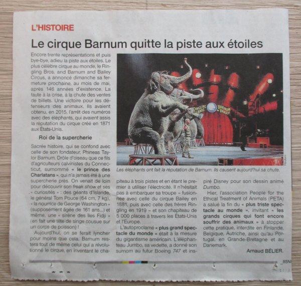 la fin du cirque BARNUM aux états unis !!!!
