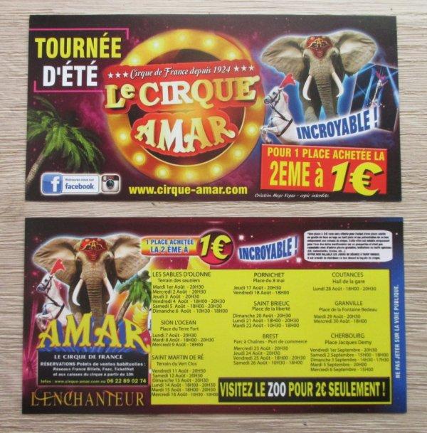 les flyers tournée d été du cirque AMAR !!!!