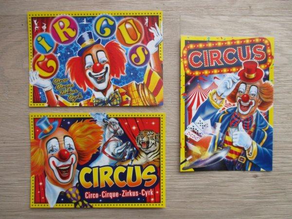 jolies cartes de clowns éditées par promocyrk !!!!