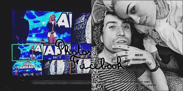 • 19 OCTOBRE 2014 - APPEARANCE Rita était présente et à présenté le RADIO 1 TEEN AWARDS à la Wembley Arena (Londres).  Elle a également posté des photos personelles sur son compte Facebook.