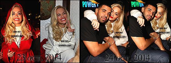 • 23,24 OCTOBRE 2014 - CANDIDS - NEW-YORK Rita s'est rendue a la Party Next Door au S.O.B's ce jeudi. Elle s'est également rendue à la fête d'anniversaire de Drake au Dave and Buster's (Time Square) et a été repérée dans la nuit à Time Square ce vendredi.