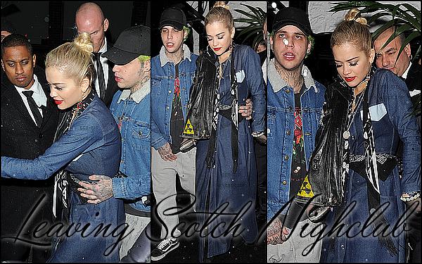 • 24, 25, 26 NOVEMBRE 2014 - CANDIDS - LONDRES/HOLLYWOOD Rita a été aperçue quittant le Sunset Marque Hôtel à Hollywood lundi. Elle a ensuite été aperçue quittant le Hearthrow aéroport à Londres mardi. Pour finir, Rita s'est rendue au Scotch NightClub en VIP et a été aperçue quittant celui-ci avec son boyfriend.