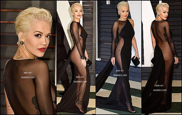 """*23/02/15 - Rita été au Vanity Fair Oscars 2015 Party à Hollywood. Malgré que la tenue soi très """"aérée"""", je trouve Rita très élégante dans cette magnifique robe noire.*"""