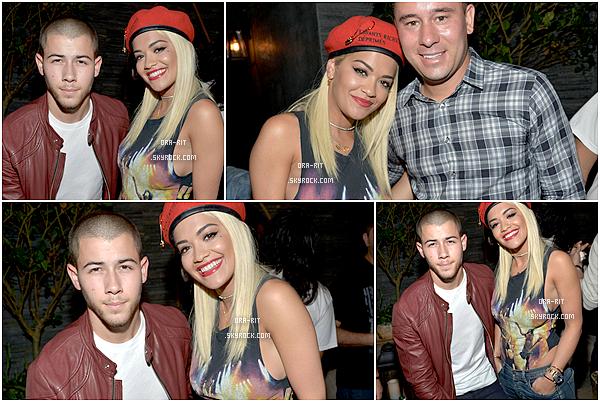 *05/08/15 - Rita été présente à une after party dans West Hollywood. On peut donc voir que Rita était entourée de célébrités telle que Nick Jonas. Je la trouve magnifique !*