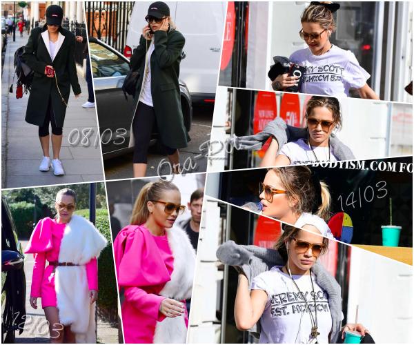 *08/03/17 - Rita a été vue se baladant dans les rues de Londres. Le 12/03, Rita a été vue dans Londres aussi et le 14/03, allant à la gym à Londres. J'aime bien sa première tenue! *